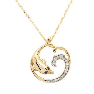 Dolphin Wave Necklace in 14k Gold & Diamond OC216G