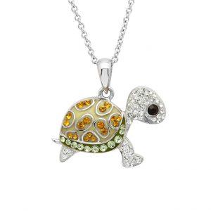 Green Baby Turtle Pendant with Aqua Swarovski® Crystals OC188
