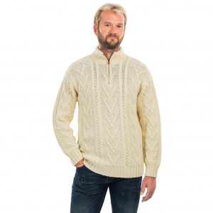 Mens Zip Neck Fisherman Aran Sweater