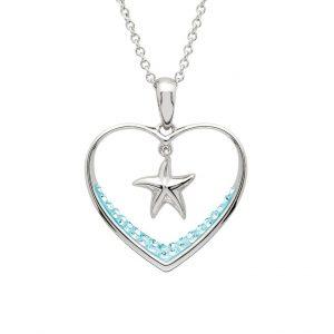 Heart Starfish Pendant with Aqua Swarovski® Crystals OC207