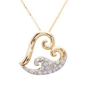 Heart Wave Pendant in 14k Gold & Diamond OC221G