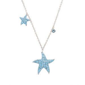 Mom And Baby Starfish Necklace with Aqua Swarovski® Crystals