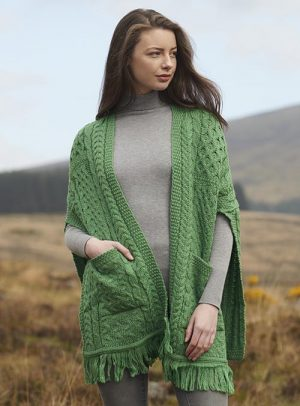 Aran Cable Knit Green Pocket Shawl