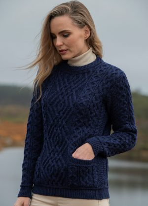 Aran Cong Blue Cable Crew Neck Sweater