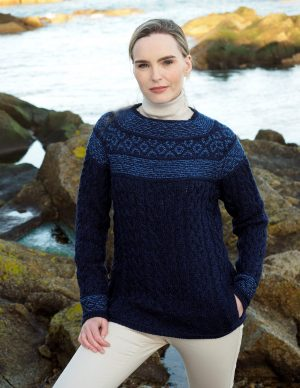 Aran Fairisle Midnight Blue Sweater