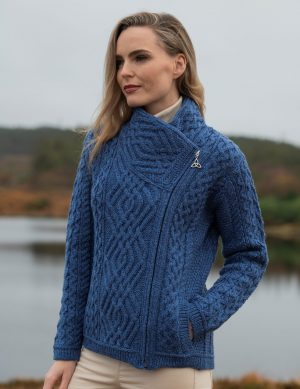 Aran Shannon Side Zip Blue Cardigan
