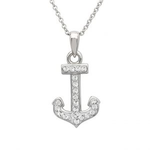 Anchor Necklace Encrusted with White Swarovski® Crystal OC140