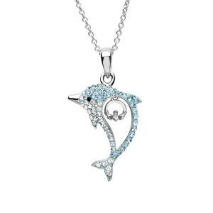 Aqua Claddagh Dolphin Necklace with Swarovski® Crystals OC51