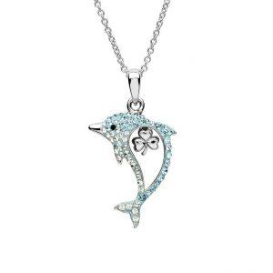 Aqua Shamrock Dolphin Necklace with Swarovski® Crystals OC52