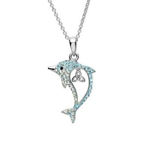 Aqua Trinity Dolphin Necklace with Swarovski® Crystals OC50