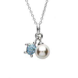 Aqua Turtle and Pearl Pendant with Swarovski® Crystals OC43