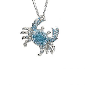 Blue Crab Pendant With Swarovski® Crystals OC70
