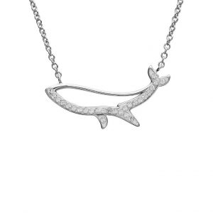 Blue Whale Necklace Silouette With Clear Swarovski® Crystals OC99