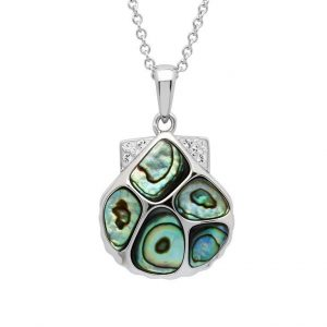 Clam Shell Necklace With Swarovski® Crystals Abalone Shell OC153