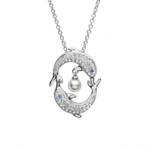 Dolphin & Pearl Necklace With Clear Swarovski® Crystals OC102