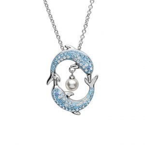 Dolphin Pendant with Pearl & Aqua Swarovski® Crystals OC101