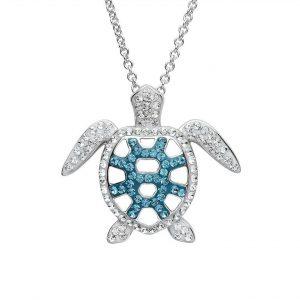 Filigree Turtle Pendant With Teal Swarovski® Crystals OC76