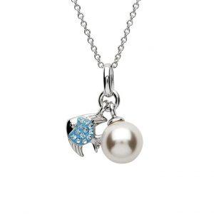 Fish and Pearl Pendant with Aqua Swarovski® Crystals OC42