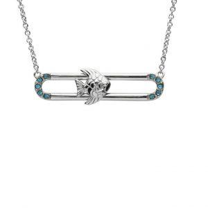 Fish Pendant Slider With Blue & Swarovski® Crystals OC86