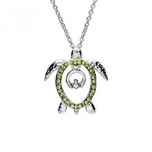 Green Turtle Claddagh Necklace With Swarovski® Crystals OC53