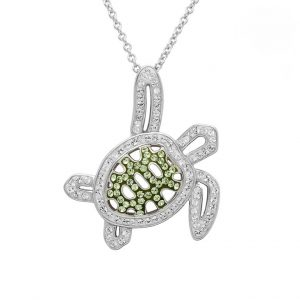 Green Turtle Necklace Encrusted with White Swarovski® Crystal OC148