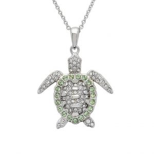 Green Turtle Pendant Encrusted with White Swarovski® Crystal OC149