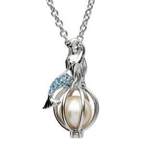 Mermaid Necklace with Pearl & Aquamarine Swarovski® Crystals oc26