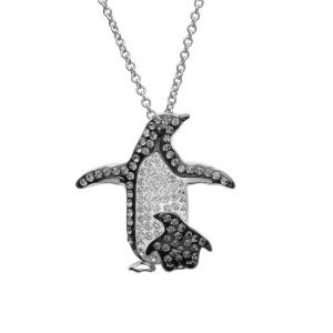Mother & Baby Penguin Necklace With & Swarovski® Crystals OC87