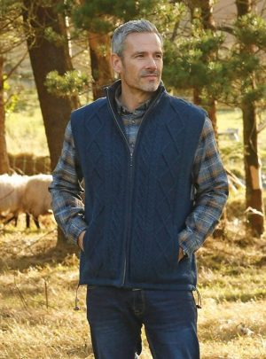 Aran Men's Lined Blue Body Warmer