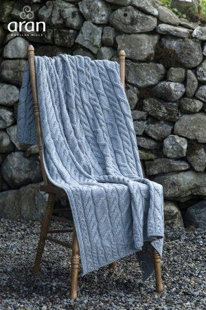 Aran Woolen Mills Ocean Gray Super Soft Blanket