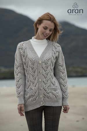 Super Soft Oatmeal Chunky Aran Cable Knit Cardigan