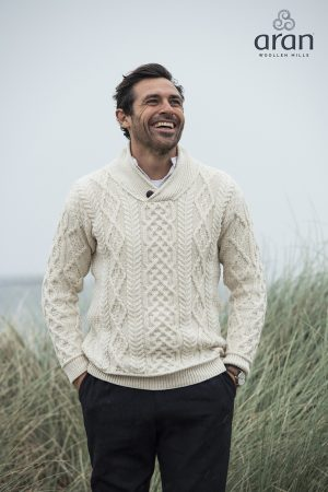 Aran Men's Shawl Collar Sweater