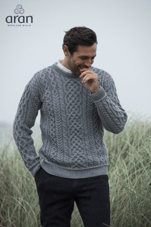 Aran Men's Super Soft Ocean Grey Sweater