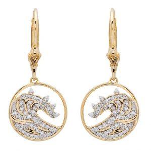 Circle Wave Drop Earrings in 14k Gold & Diamond OC224G