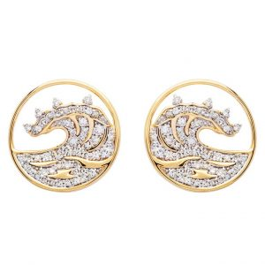 Circle Wave Stud Earrings in 14k Gold & Diamond OC225G