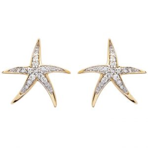 Dancing Starfish Stud Earrings in 14k Gold & Diamond OC232G
