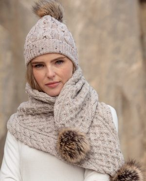 Aran Cable Knit Oatmeal Pom Pom Hat