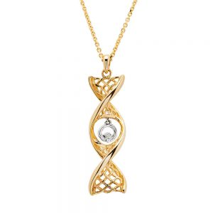 14K Gold Claddagh Necklace Celtic DNA Design