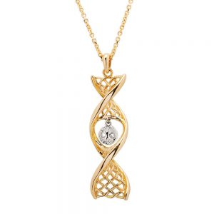 14K Gold Tree Of Life Celtic DNA Necklace