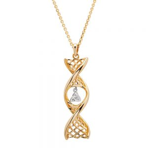 14K Gold Trinity Celtic DNA Necklace