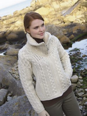Aran Crafts Double Collar Cardigan