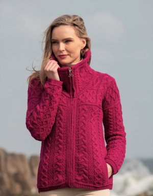 Aran Crafts Double Collar Raspberry Cardigan