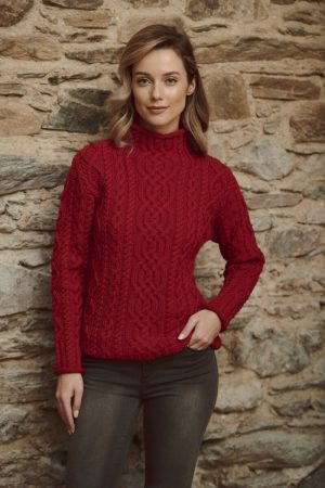 Aran Red Funnel Neck Sweater