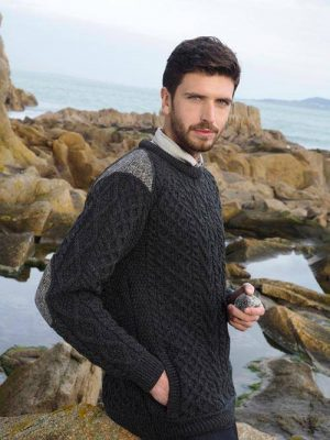 Aran Crafts Crew Neck Tweed Sweater