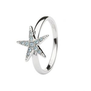 Aqua Starfish Ring Encrusted with White Swarovski® Crystal OC136