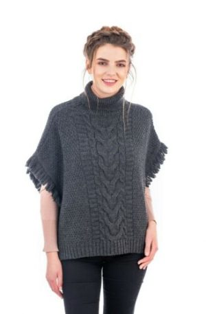 Cable Stitch Charcoal Wool Poncho