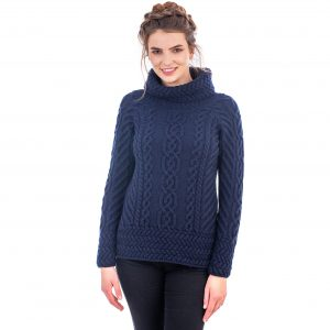 Ladies Navy Cowl Neck Aran Sweater
