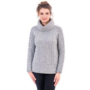 Ladies Gray Cowl Neck Aran Sweater