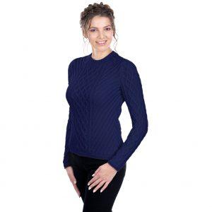 Ladies Navy Aran Tunic Sweater