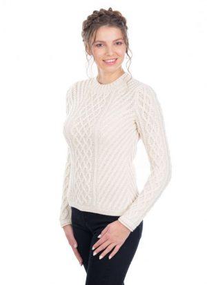 Ladies Aran Tunic Sweater AWL115